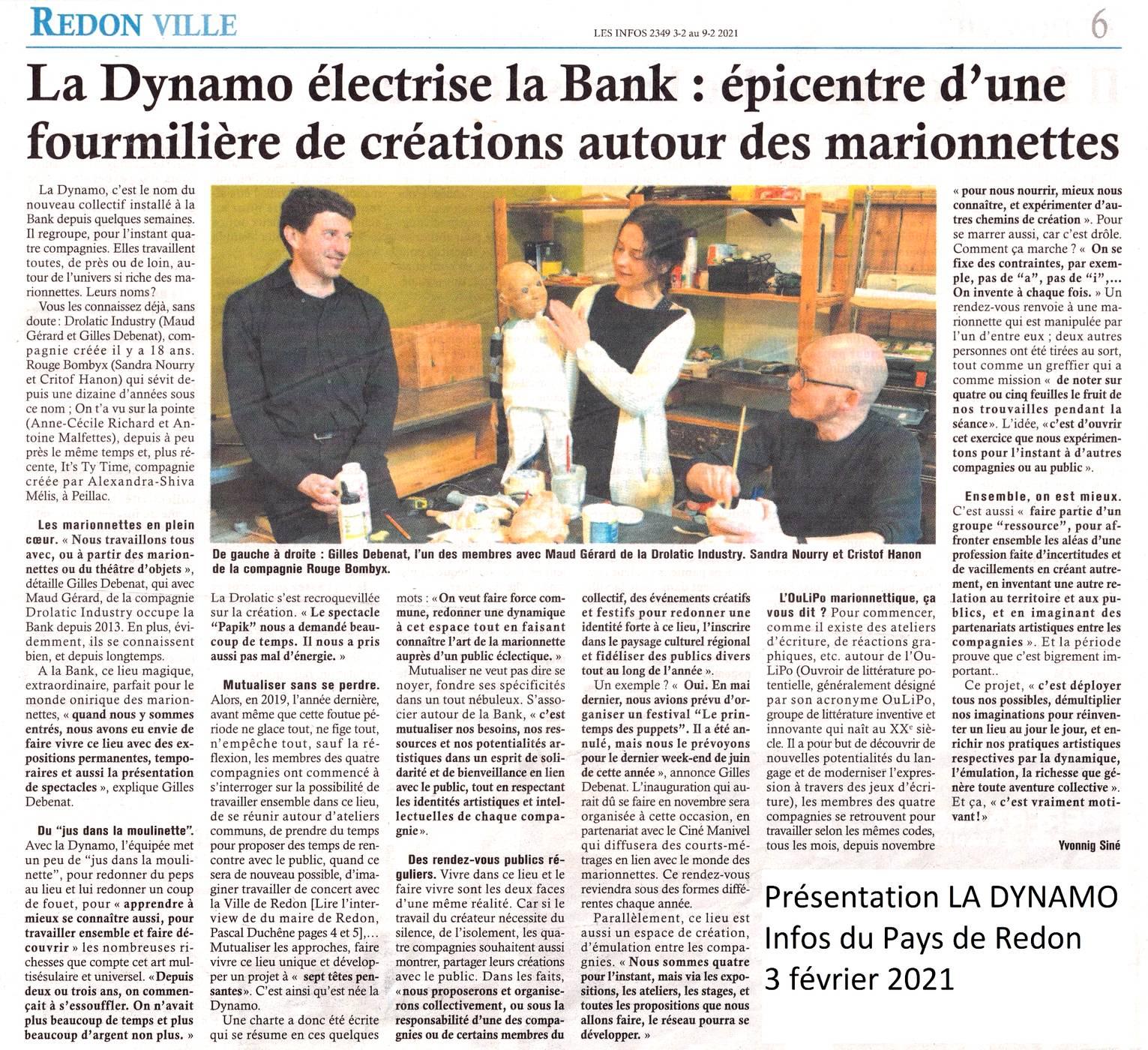 Article dans Les Infos du Pays de Redon, 03/02/21